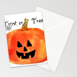 Trick or Treat Jack-O-Lantern, Halloween Pumpkin Stationery Cards