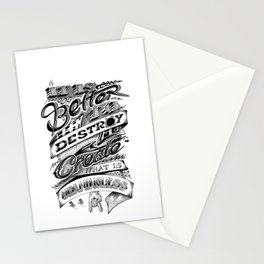 It is better to Destroy than to Create what is meaningless Stationery Cards