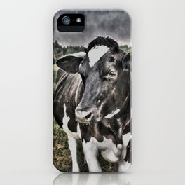Melancholic Black White Dutch Cow iPhone Case