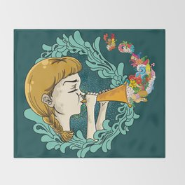 Girl with Trumpet Throw Blanket