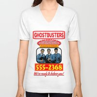 ghostbusters V-neck T-shirts featuring Ghostbusters Advertisement by Silvio Ledbetter