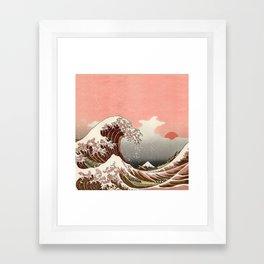 Japanese red sunset tsunami Framed Art Print