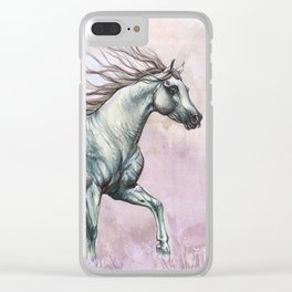 Running arabian horse Clear iPhone Case