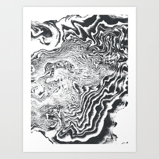 Miro spilled ink black and white minimal modern topography japanese marble marbling art print by spilledink society6