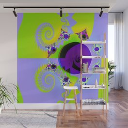 Fractal - Lilac and Green Wall Mural