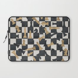 Chess Figures Pattern -Leather and gold Laptop Sleeve