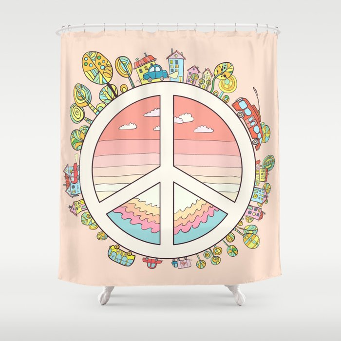 Peaceful Bright Pacific Planet Shower Curtain