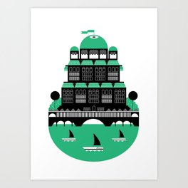 The Cosy Cottage ( 2-Colour) Art Print