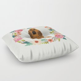 bloodhound floral wreath dog gifts pet portraits Floor Pillow