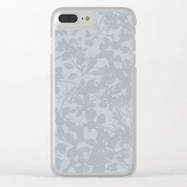 Broken but Flourishing Floral Pattern - Grey Clear iPhone Case