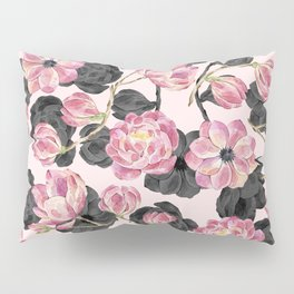 Girly Blush Pink and Black Watercolor Flowers Pillow Sham
