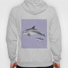 Bottlenose dolphin purple background Hoody