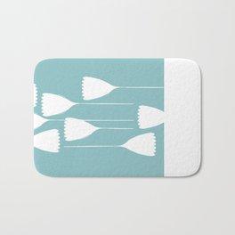 blue and white cutout Bath Mat