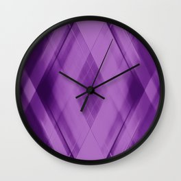Wicker triangular strokes of intersecting sharp lines with amethyst triangles and stripes. Wall Clock
