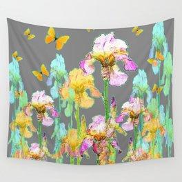YELLOW BUTTERFLIES SPRING  IRIS GARDEN ART Wall Tapestry