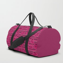 Floral pattern on striped background Duffle Bag