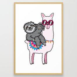 Sloth Music Llama Framed Art Print