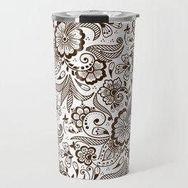 Mehndi or Henna Flowers and Leaves Travel Mug