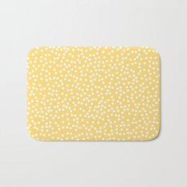 Yellow and White Polka Dot Pattern Bath Mat