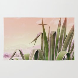 Agave in the Garden on Pastel Coral Rug