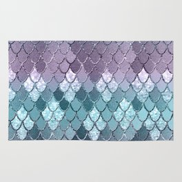 Mermaid Scales Navy Blue Teal Purple Glam #1 #shiny #decor #art #society6 Rug