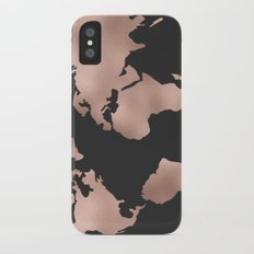 Rose Gold World Map on Dark Gray Slim Case iPhone X