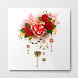 Ruby Heart with Roses Metal Print