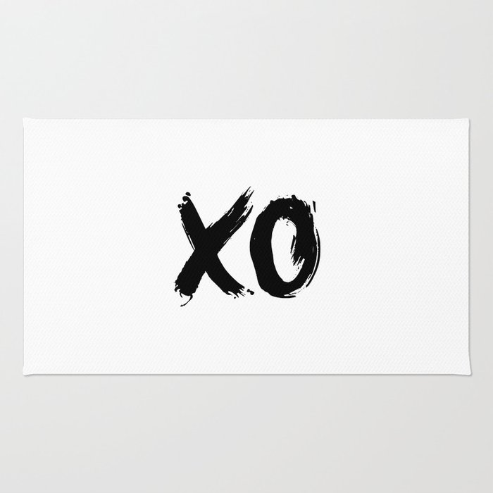 XO Hugs and Kisses black and white xoxo gift for her girlfriend bedroom art and home room wall decor Rug