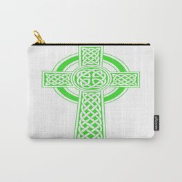 St Patrick's Day Celtic Cross Green and White Carry-All Pouch