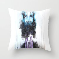 alcohol Throw Pillows featuring Alcohol dependence by laurensmorin