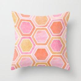 Desert Mood II - Watercolor Hexagon Pattern Throw Pillow