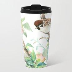 Sparrows And Apple Blossom Metal Travel Mug