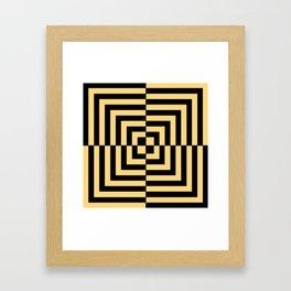 Graphic Geometric Pattern Minimal 2 Tone Illusion Squares (Golden Yellow & Black) Framed Art Print
