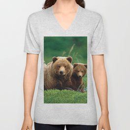 Spectecular Grizzly Bear Mother With Adorable Two Cubs In Meadow Ultra HD Unisex V-Neck
