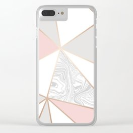 rose gold gray marble Clear iPhone Case