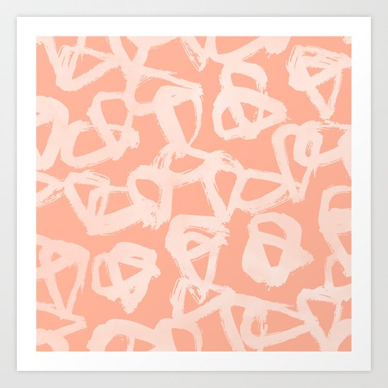 Sweet Life Triangle Dots Peach Coral Pink Art Print
