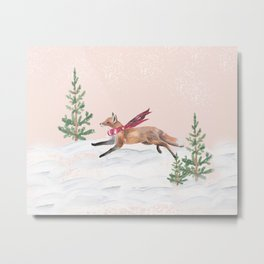 The Fox and a Merry Sprint Metal Print