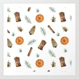 Christmas pattern with citrus and cinnamon Art Print