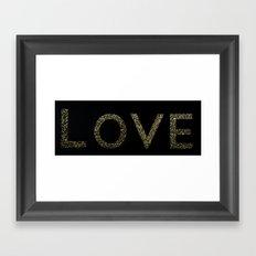 Gold Glitter Love Framed Art Print