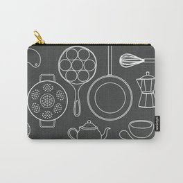 kitchen tools (white on black) Carry-All Pouch
