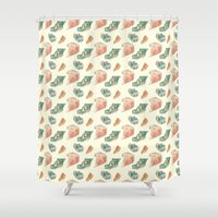 minerals Shower Curtains featuring Myriad Minerals by Portable City Illustration
