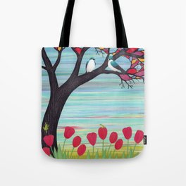 tree swallows in the stained glass tree with tulips and frogs Tote Bag