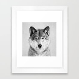 Wolf 2 - Black & White Framed Art Print