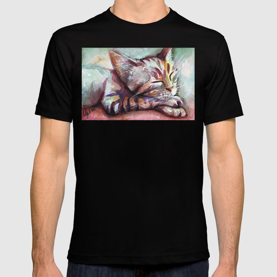 Sleeping Kitten Watercolor Cat Whimsical Cats T-shirt