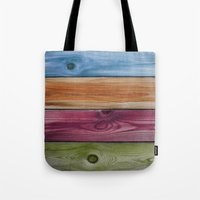 wooden Tote Bags featuring Wooden Rainbow by Nicklas Gustafsson