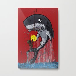 Seal Dragon Punching Shark Metal Print