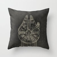 millenium falcon Throw Pillows featuring Millennium Falcon by LindseyCowley