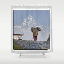 WOOD CARRIER AND MACHAPUCHARE IN NEPAL Shower Curtain