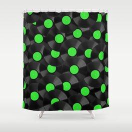 Vinyl Records Pattern (Green) Shower Curtain