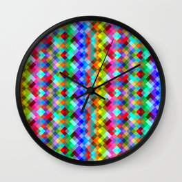 Multicolored pixels Wall Clock